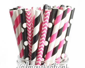 Minnie Mouse Birthday | PINK and Black STRIPE STRAWS | Pink black Party Decor | Party Straws | Minnie Mouse Party | First Birhtday Party