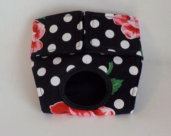 Female Dog Panties, Dog Clothes, Custom Dog Diaper - Pet Clothes - Roses on Black - Doggie Diapers, Dog Britches, Small Dog Harness
