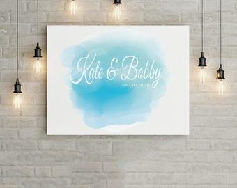 Wedding Guestbook Alternative - Blue Watercolor
