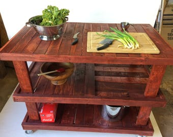 Large Industrial Rustic Kitchen Island Sedona Red