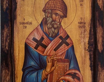 Saint St. Spyridon - Orthodox Byzantine icon on wood handmade (22.5cm x 17cm)