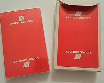 Vintage United Airlines Playing Cards Unopened Sealed Wrapped in Plastic Advertising