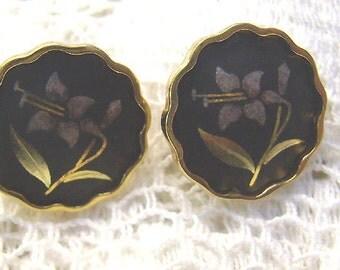 "Clearance...Vintage Damascene ""AMITA"" Earrings...Gold Plated Japan Post Backs...1950s Flower Damascene Collectibles"