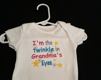 I'm The Twinkle in Grandma's Eyes Embroidered Bodysuit