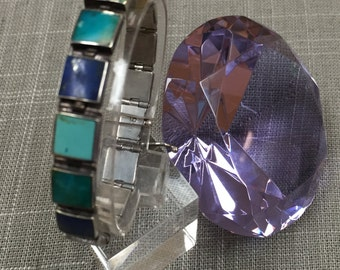 Vintage 950 (95% pure) Silver  With Turquiose, Lapis Link Bracelet!!!