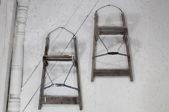 28 antique wood ladder wall shelf rustic display great - Reclaimed wood ladder shelf ...