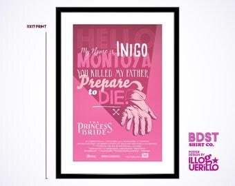 Princess Bride Movie Quote Poster Art // Six Fingered Man Versus Inigo Montoya Print // Original Illustration & Wall Decoration Design