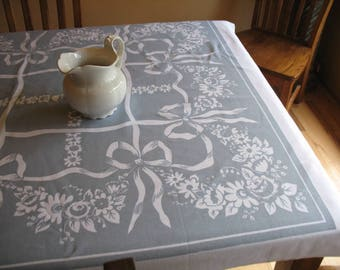 Vintage 1950s Cottage Style Gray and White Heavy Cotton Tablecloth Bows and Flowers 64x49