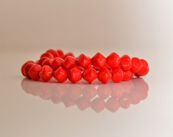 Bright Red Glass Bead Bracelet - Set of 2