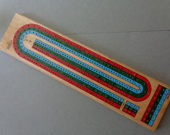 Hoyle Cribbage Board Wood with plastic pegs 3 Players Continuous Track Red Blue Green No 5023