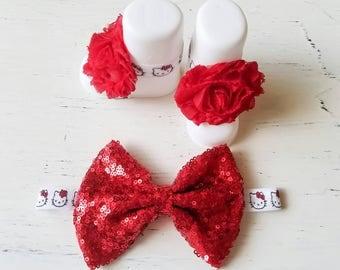 Red Hello Kitty bow headband barefoot sandals , red Sparkle Headband baby girl Headbands , shabby chic bow headbands, gift , baby shower