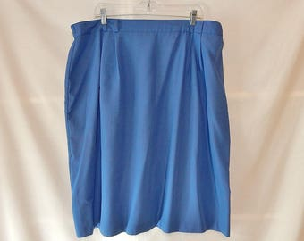 Sz 22 1X 2X Simple Pencil Skirt - Blue - Below the Knee - Plus Size - Kathie Lee 80s - Wear to Work Office - Made in USA