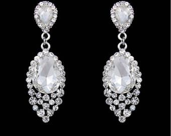 "PAIR Rhinestone Tear Drop Bridal Crystal Wedding Prom gauges plugs tunnels earrings 2g 0g 00g 7/16"" 1/2"" 6mm 8mm 10mm 11mm 12mm"
