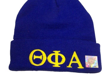 THETA PHI ALPHA Royal Blue Embroidered Greek Letter Monogrammed Acrylic Knit Beanie