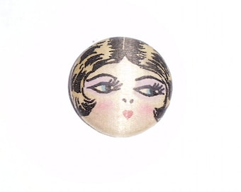 Large Size Cloth 1920 Flapper Girl Button