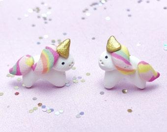 Unicorn earrings - beautiful handmade polymer clay jewellery by Clay & Clasp