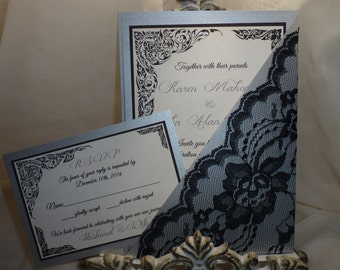 "Black and Silver Wedding Invitation ( sample ) - ""Day and Night"""