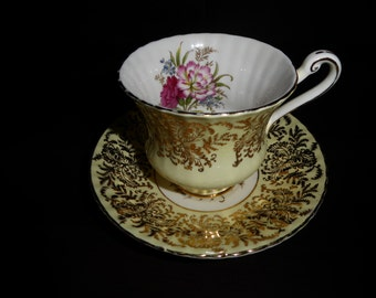 Beautiful  PARAGON Tea Cup and Saucer Carnations Circa Late 1950's to 1960's
