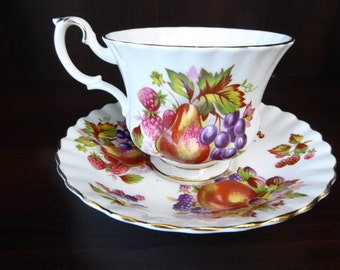 Vintage Royal Albert Fruits and Berries Tea Cup and Saucer #4486  Circa 1960s  to 1970s