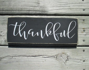 Thankful Wood Sign, Thanksgiving Decor, Fall and Autumn Wood Sign, Farmhouse Decor, Distressed Thankful Sign, Holiday Decor, Fall Sign