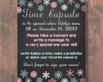 Winter ONEderland First Birthday Time Capsule Sign DIGITAL FILE