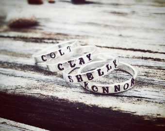 Hand Stamped Stackable Rings - Personalized for you - price is for 1 ring