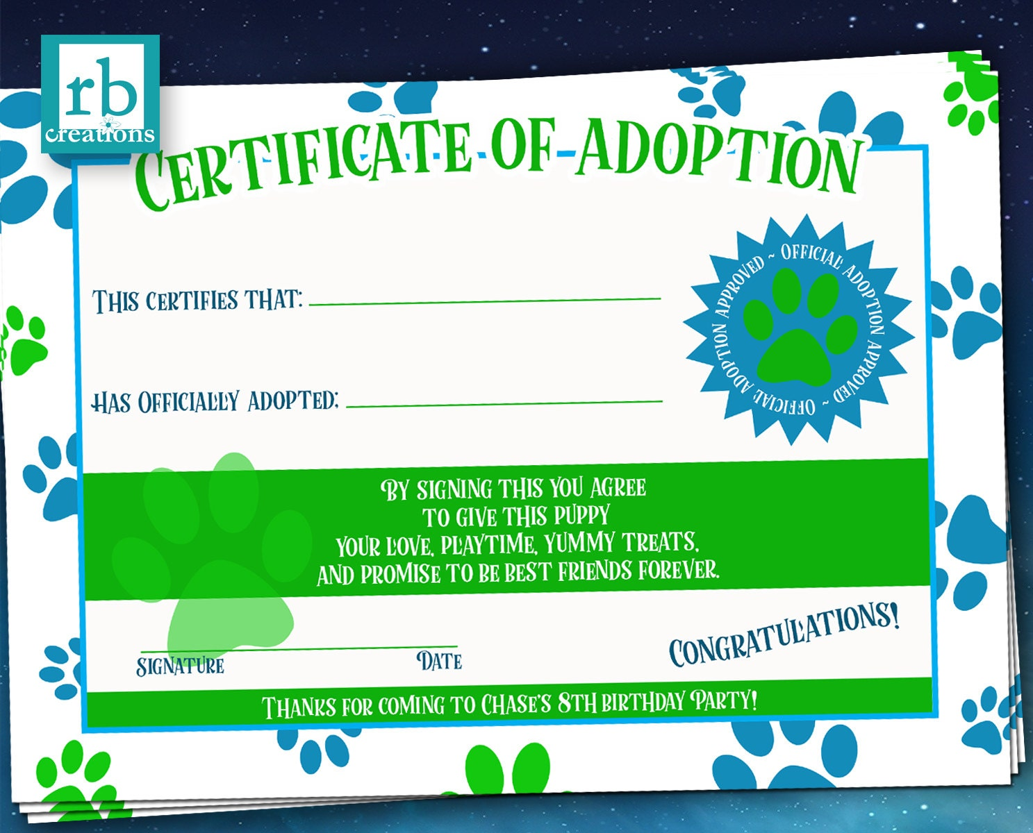 Puppy party adoption certificate puppy birthday puppy birthday puppy party adoption certificate puppy birthday puppy birthday certifcate puppy adoption certificate dog party favor digital printable xflitez Gallery
