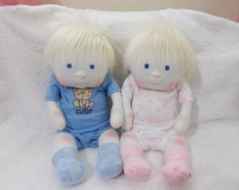 Set of Twins Boy Girl cloth Baby Doll handmade Waldorf Inspired Mongolian Blonde Hair Blue Eyes stuffed plush brother sister toddler newborn