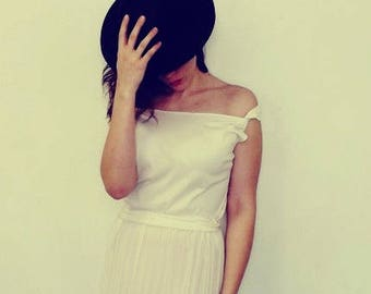 Plus Size Vintage 1980s Slip Dress 1920s Flapper Dress Ivory White Under slip Maxi Dress Long Pleated Drop Waist Dress Semi Sheer 20s Dress