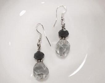 Grey Smoke Drop Earrings