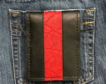 Mens wallet, mens leather wallets, bi-fold wallets, mens bi-fold leather wallets, mens wallets, made in the usa wallet, black and red wallet