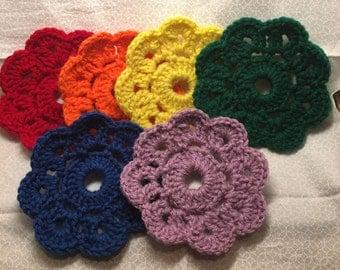 Rainbow coasters crochet flower coaster multicolor flower handmade acrylic yarn coasters