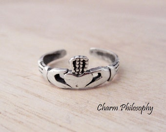 Claddagh Toe Ring - 925 Sterling Silver Jewelry - Love, Friendship and Loyalty Symbol
