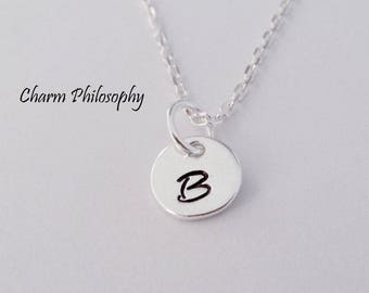 Monogram Letters Necklace - 8mm Round Initial Charms - Personalized 925 Sterling Silver Jewelry - Mother's Necklace - Alphabet Necklace