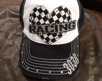 I love RACING Checkered flag print heart hat