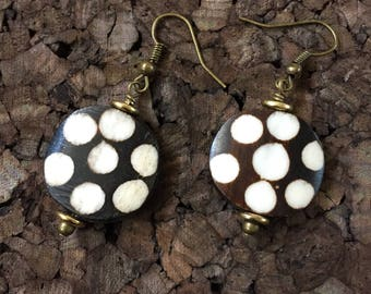 Afrocentric Jewelry - Polka dot Print Batk Bone Earrings