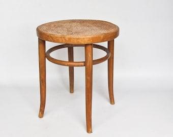Antique Wooden Stool / Thonet Style Bentwood Cane Seat Stool