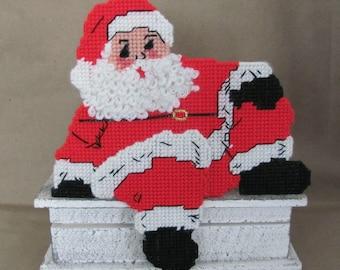 Vintage Christmas Decoration, 1980's Santa Shelf Sitter, Plastic Canvas Santa, Vintage Handmade Christmas Decor