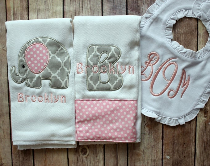 Monogrammed Baby Girl Gift, Baby Shower Gift, Monogrammed Girl Burp Cloth, Burp Cloth Bib Set, Elephant Baby Gift, Elephant Baby Girl, Baby