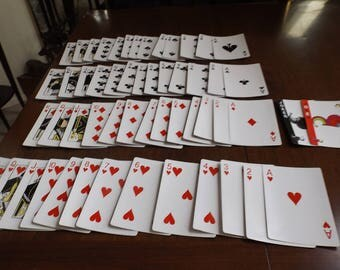 "7"" x 4 5/8"" Full deck of large Playing cards with Jokers. Gift idea.Entertainment .Vintage. Full deck."