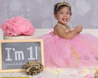 Beautiful baby girl first birthday flower girl party tutu dress pink, gold with bling straps 12-18 months
