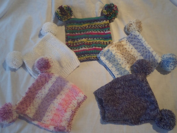 Hand Knitted Double Pompom Tea Bag Beanie Hat