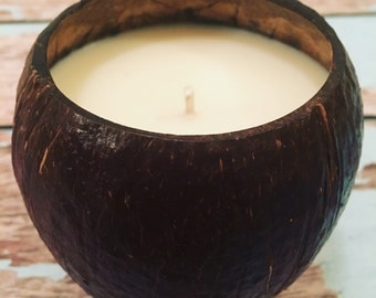 Handcrafted Soy Candle in Natural Coconut Shell, 11 ounces