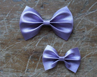 pastel metallic purple leather bow hair clips