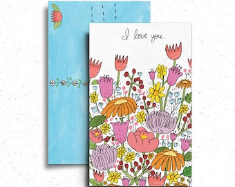 Wildflower I Love You Postcard