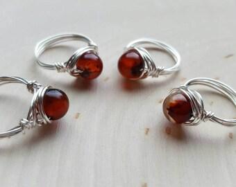 Red Agate Ring, Healing Stone Ring, Red Gemstone ring,  Red stone ring, Red agate jewelry, Chakra healing stone jewelry, Base Chakra Ring