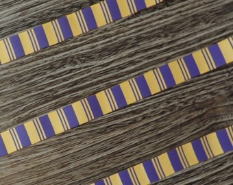 Purple and yellow striped ribbon - 3 yards