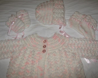 New Hand Knit 4 Piece Baby Sweater Set