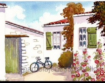Watercolour Print, Hollyhocks, St Martins, France, 14ins x 11ins, Gift Idea, Art and Collectables