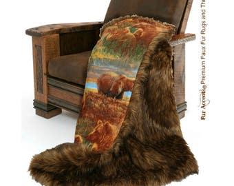 Plush Faux Fur Throw Blanket, Bedspread - Luxury Fur - Brown Shag with Bears - Flannel Cuddle Lining - Fur Accents USA
